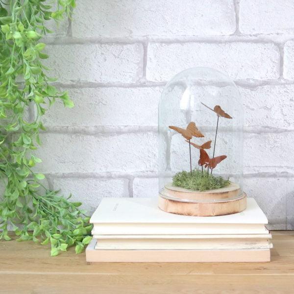 Papillons en bois sous cloche